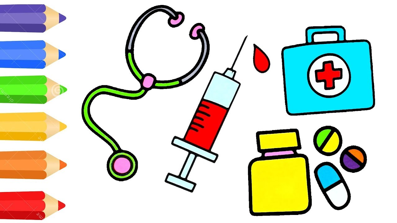 Coloring Page For Kids W How To Draw Medical Doctor Kit Drawing Medicines By DT