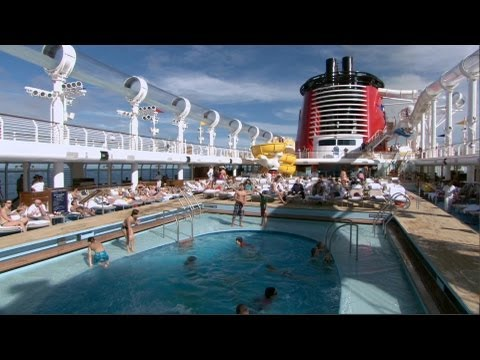 Disney Fantasy cruise pools with AquaDuck, Quiet Cove adults area, Nemo's Reef