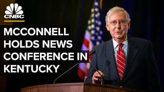 Senator mitch mcconnell, kentucky senate president robert stivers, and speaker of the house david osborne hold a press conference on friday to discu...