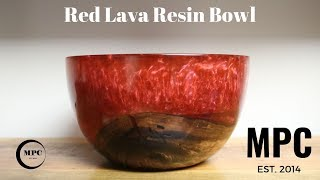 Red Lava Resin Bowl