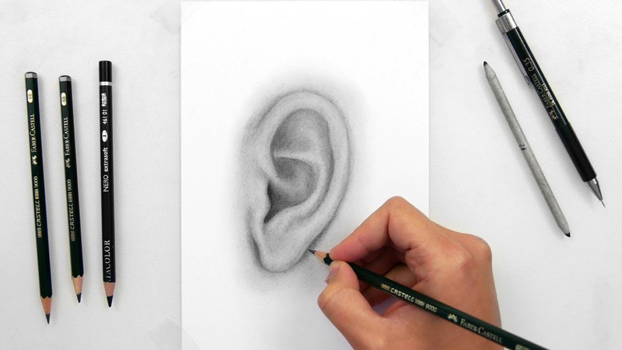 Ear Study | Drawing a Realistic Ear with Graphite pencils ...