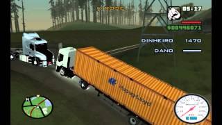 Caminhão Carregado com Container Tomba e Caminhoneiro Morre na Explosão - GTA San Andreas
