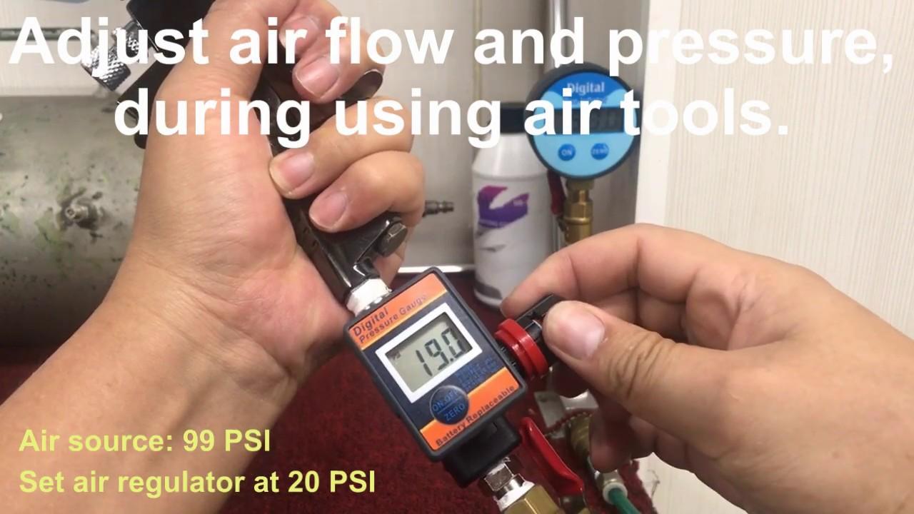 Air Adjusting Valve Regulator with Digital Pressure Gauge for Spray Gun Air Tool