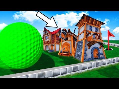 HUGE GOLFBALL vs. MINI TOWN! (Golf It)