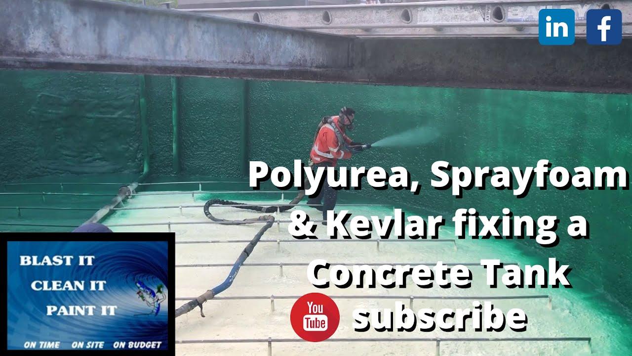 Polyurea & Sprayfoam & Kevlar fixes 35 Year Old Trade Waste Concrete Tank