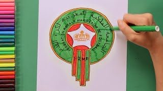 How to draw and color Morocco National Football Team Logo