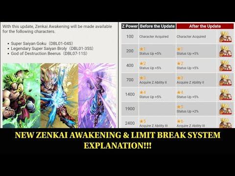 New Zenkai Awakening System Limit Break System In Dragon Ball Legends Youtube