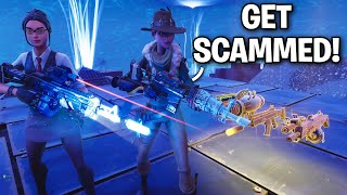 They found a way to TELEPORT behind ME!! 😞😦 (Scammer Get Scammed) Fortnite Save The World
