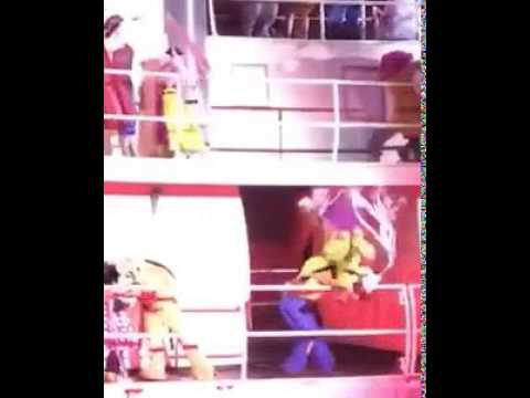 Dopey falls off of the boat during Fantasmic! in Disney World