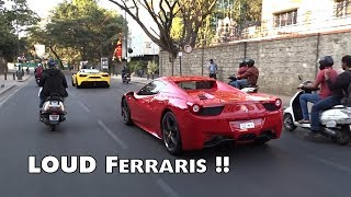 2 Very LOUD Ferraris on the streets of Bangalore | India | #171