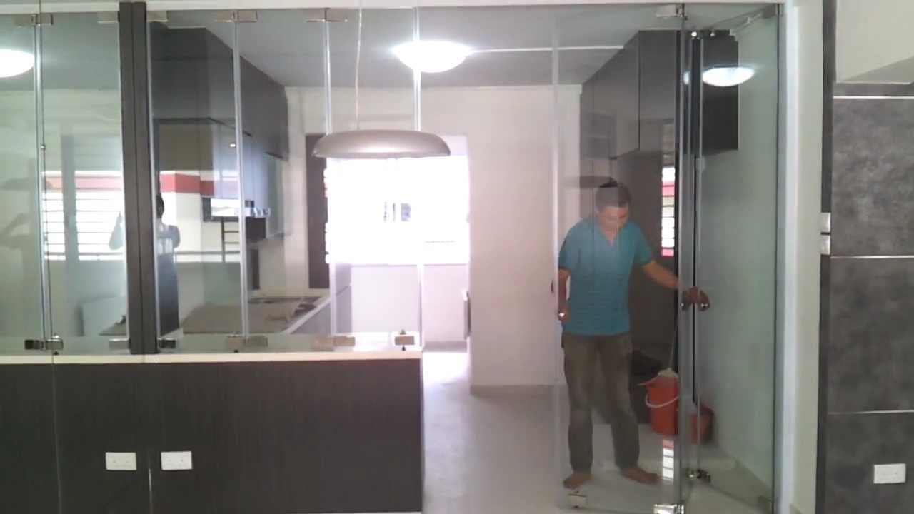 Frameless door system open demo video singapore serangoon hdb 4 room stylish design modern Kitchen door design hdb