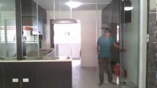 Frameless Door System(open Demo Video) Singapore Serangoon Hdb 4 Room Stylish Design Modern Kitchen