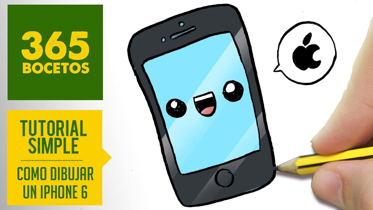 COMO DIBUJAR UN IPHONE 6 PLUS KAWAII PASO A PASO