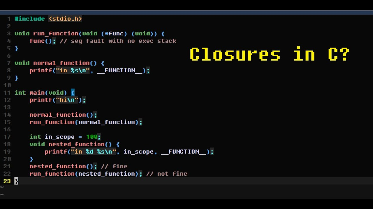 Video Thumbnail for Closures in C with GCC and Nested Functions