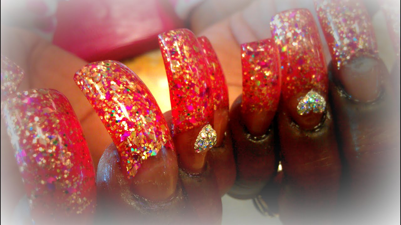 HOW TO LONG NAILS ACRYLIC APPLICATION GLITTER - YouTube
