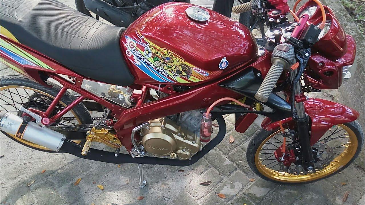 Modifikasi Vixion Old Ganteng Merah Maroon Airbrush Jari