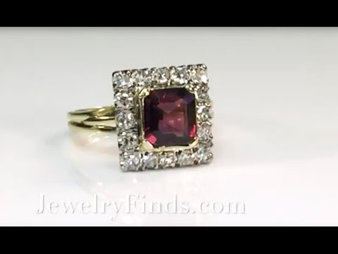 Vintage Emerald Cut Garnet Diamond Halo Engagement Ring 14K
