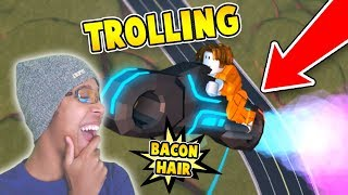 TROLLING AS BACON HAIR with ROCKET FUEL VOLT BIKE in ROBLOX JAILBREAK!!!