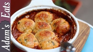 Minced beef with cheddar dumplings