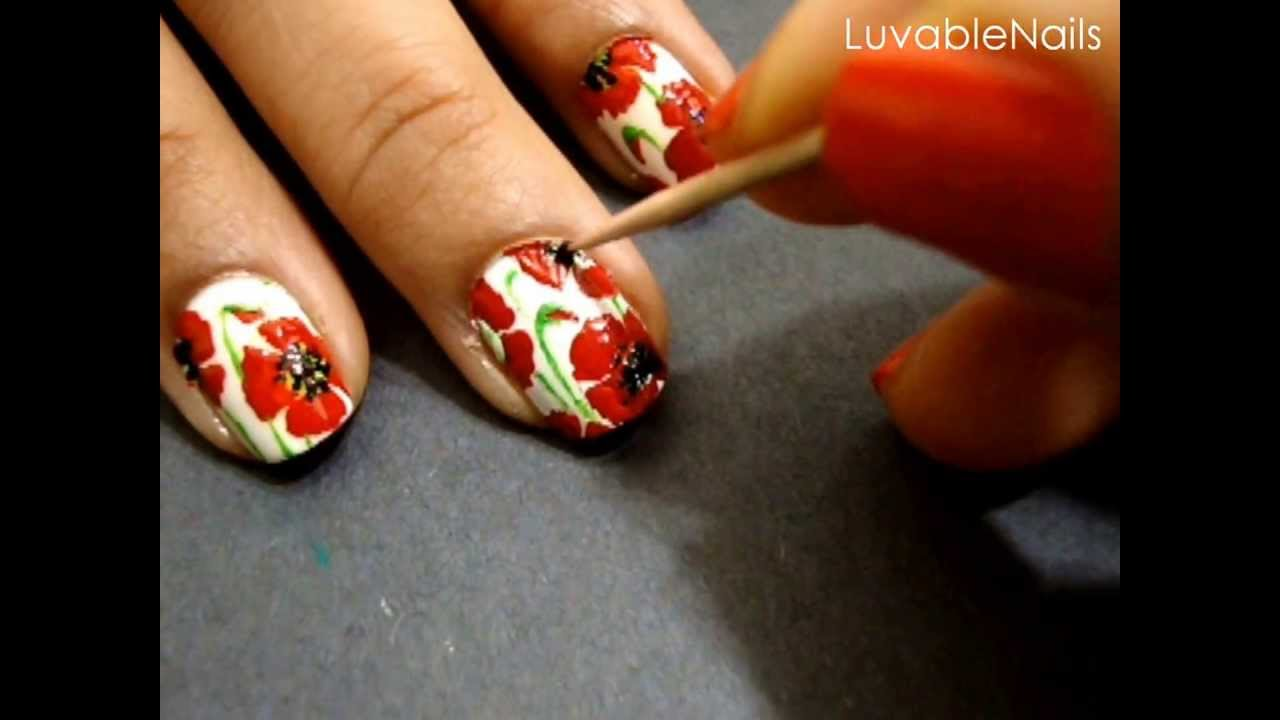 California Poppies Nail Art By Luvablenails Youtube