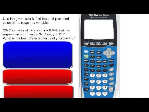 Find Predicted Value given regression equation & correlation coefficient. Stats 160 Final Review #29
