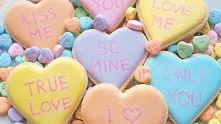 How To Decorate Royal Icing Conversation Heart Cookies For Valentine's Day