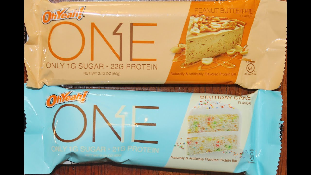 Oh Yeah ONE Protein Bar Peanut Butter Pie Birthday Cake Review