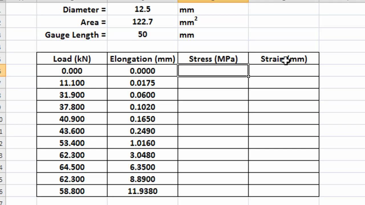 arabic - drawing stress strain curve using microsoft excel part 1 of 2 -- arabic
