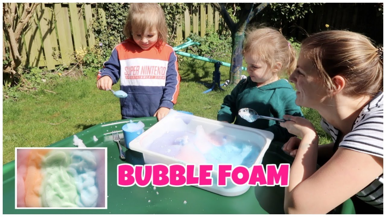 DIY BUBBLE Play Foam Recipe | gefärbter Schaum | Things to do with kids