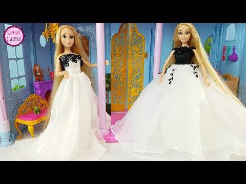 Rapunzel elige vestido para su boda - Vestidos para muñecas Barbie y Princesas Disney juguetes