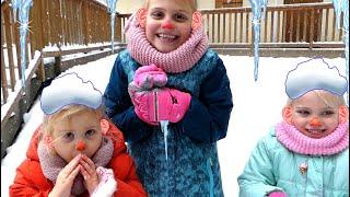 Sisters Like играют со снегом Снежный монстр Зимние развлечения Алисы, Ани и Лизы Winter adventures