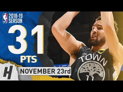 Klay Thompson Full Highlights Warriors vs Blazers 2018.11.23 - 31 Pts, 8 Rebounds!