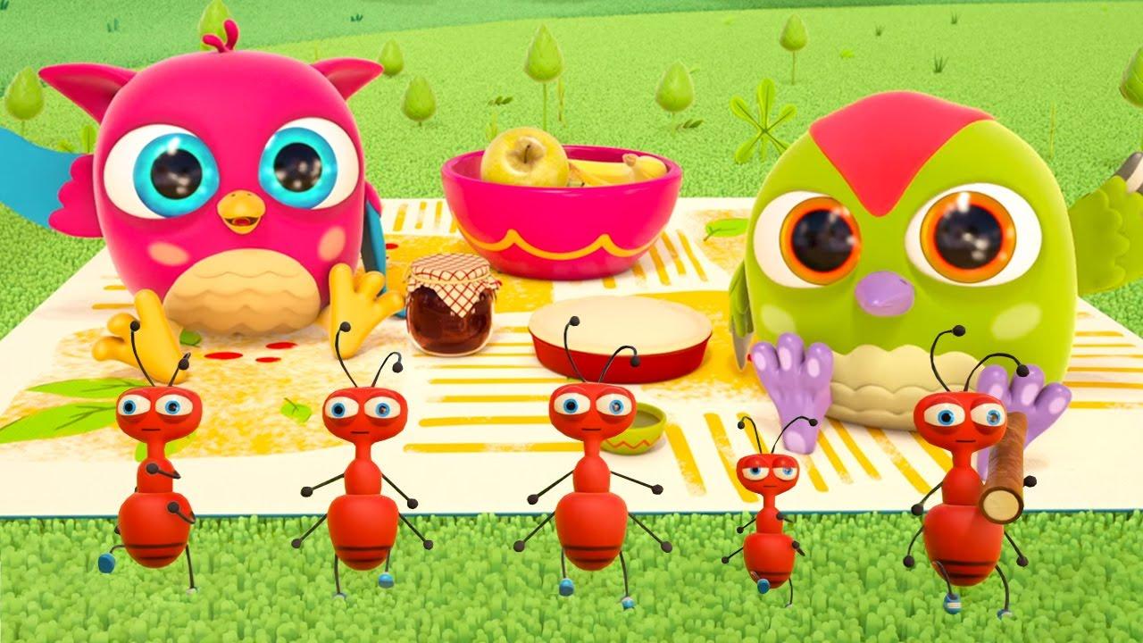 Canções infantis de Hophop a coruja. A canção sobre formigas. Desenhos animados para crianças
