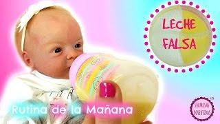 Rutina de la mañana del bebe REBORN +  Cómo hacer leche falsa para tus muñecas
