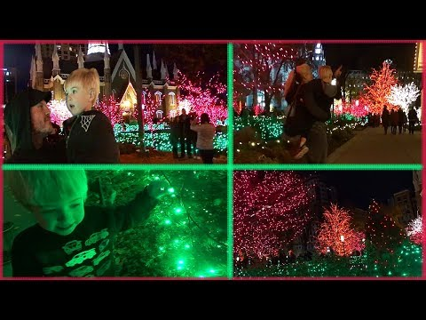 Beautiful Christmas Lights at Temple Square in Downtown Salt Lake City. Toddler Family Holiday Time