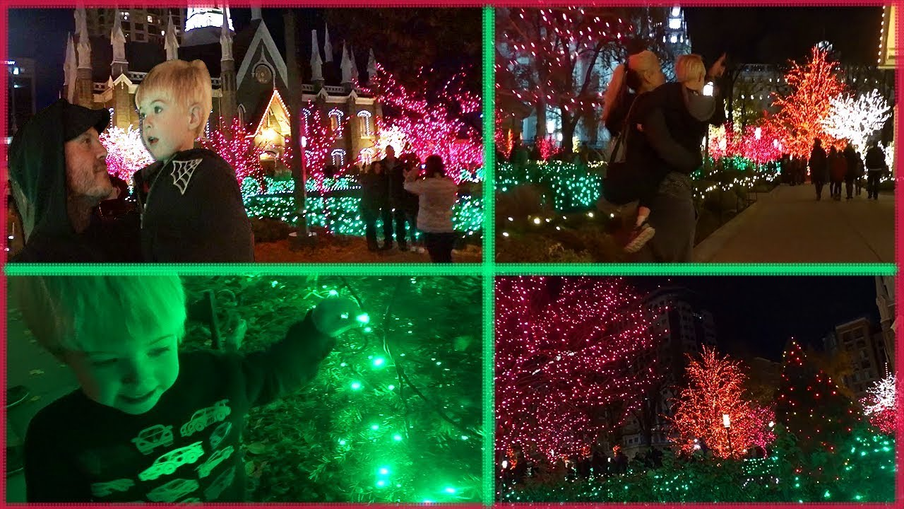 beautiful christmas lights at temple square in downtown salt lake city toddler family holiday time - Beautiful Christmas Lights