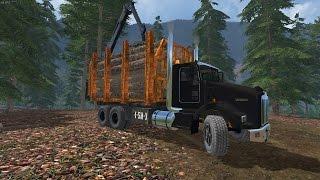 "[""KEnworth"", ""Forest"", ""Cat"", ""Logs"", ""Peterbilt"", ""T800"", ""Log Truck"", ""Logging"", ""Stack"", ""Pile"", ""Grass"", ""Lawn"", ""Care"", ""Fir"", ""Trees"", ""LowBoy"", ""Log Bed""]"