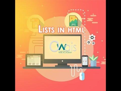 Html tutorials for beginners in Urdu | Lists in Html Hindi / Urdu thumbnail