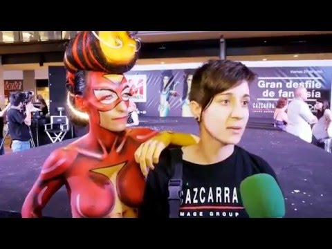 TV interview - Spider woman bodypaint