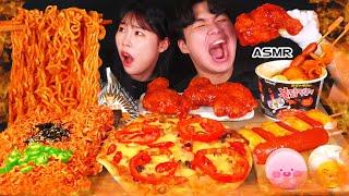 ASMR MUKBANG| 편의점 직접 만든 핵불닭 떡볶이 양념치킨 김밥 디저트 먹방 \u0026 레시피 FRIED CHICKEN AND Tteokbokki EATING