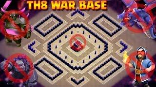 TH8 New War Base 2017 | UNBEATABLE  Anti 2 Star Base | Anti Dragon | Anti GOWIPE