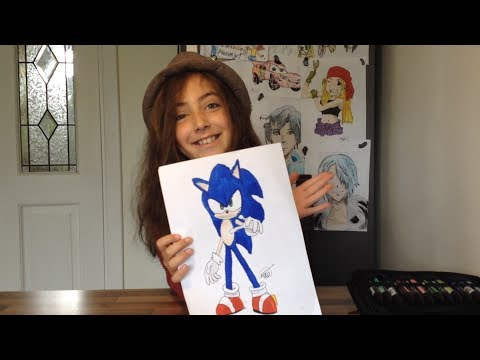 How to draw Cartoon Characters - Maya shows how to draw Sonic the Hedgehog