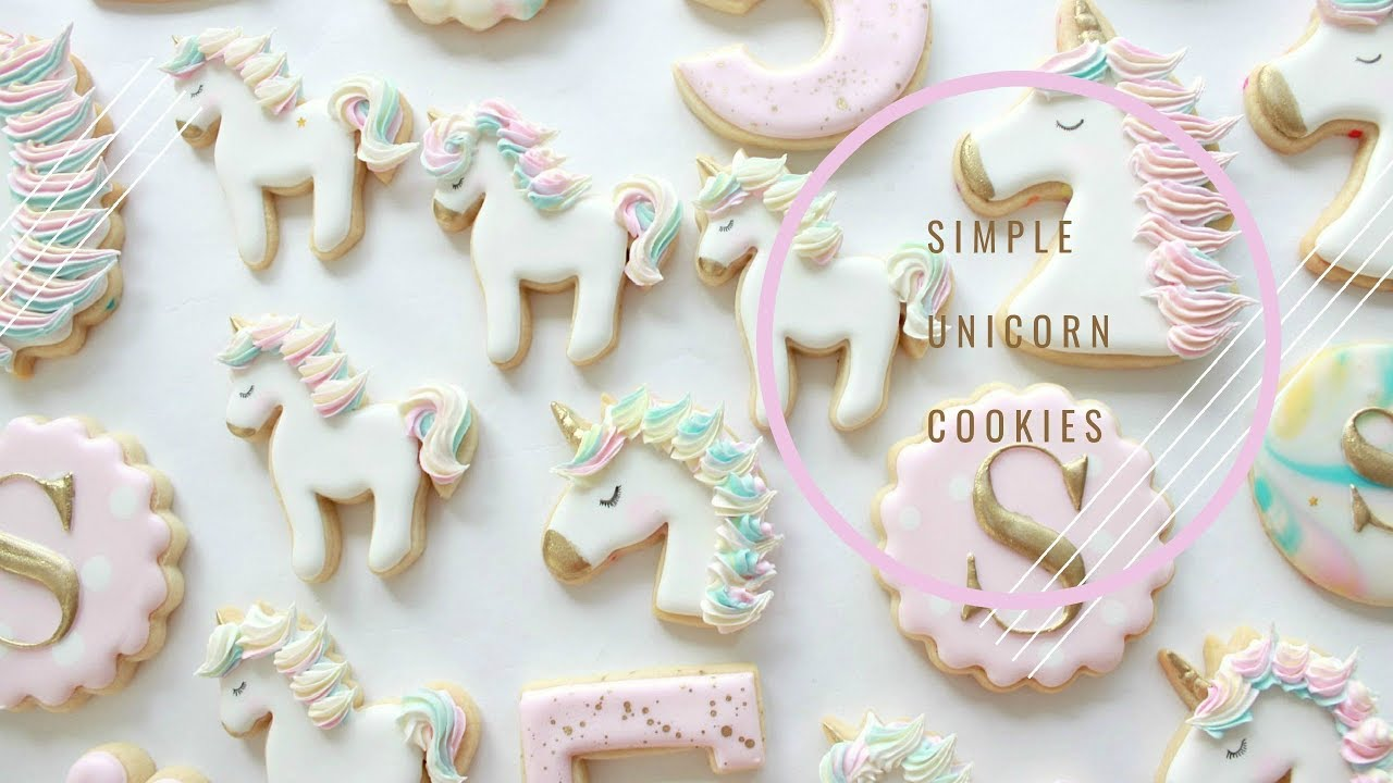How to Decorate Simple Unicorn Cookies - YouTube