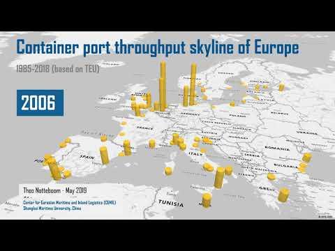 European container port skyline 1985 to 2018