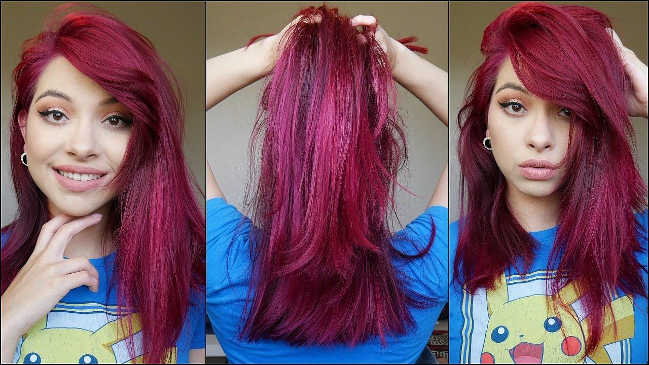 How I Dye My Hair Magenta Burgundy Red Youtube