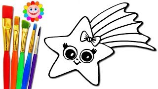 How to draw a  Baby STAR Coloring Page for Kids to learn Painting