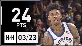 Nick Young Full Highlights Hawks vs Warriors (2018.03.23) - 24 Pts!