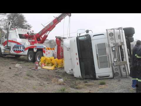 Truck overturns near Ladysmith Motel