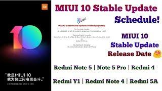 MIUI 10 Stable Update Schedule  MIUI 10 Stable Update Release Date  Xiaomi Phones List