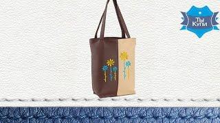 Женская сумка из кожзама «Цветы» brown-beige. Купить в Украине. Обзор